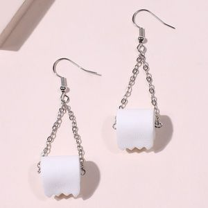 Funny Unique Toilet Paper Novelty Earrings New